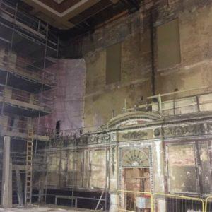 Inside Alexandra Palace, the irregular walls
