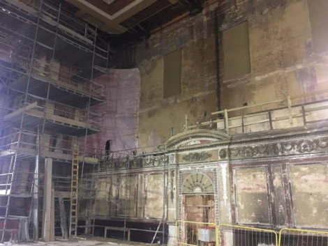 Inside Alexandra Palace, the irregular walls